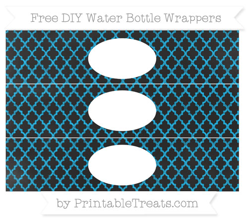 Free Deep Sky Blue Moroccan Tile Chalk Style DIY Water Bottle Wrappers