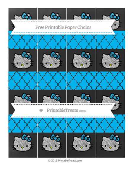 Free Deep Sky Blue Moroccan Tile Chalk Style Hello Kitty Paper Chains