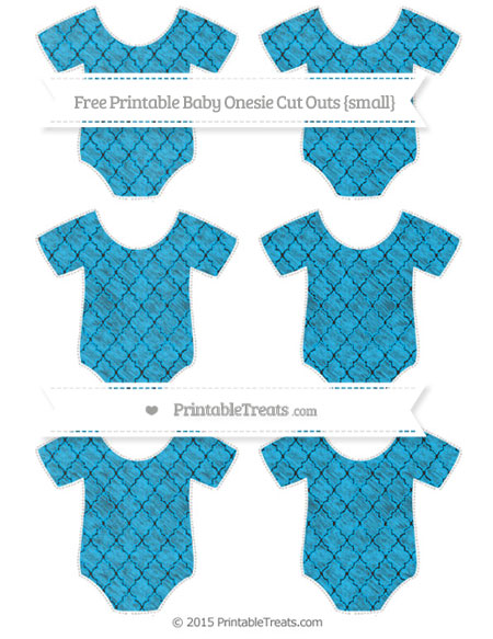Free Deep Sky Blue Moroccan Tile Chalk Style Small Baby Onesie Cut Outs