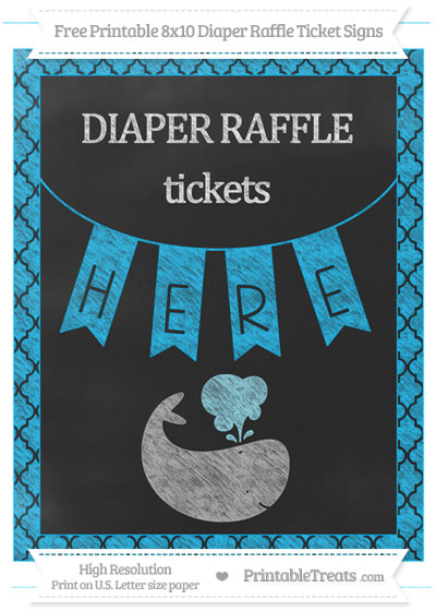 Free Deep Sky Blue Moroccan Tile Chalk Style Whale 8x10 Diaper Raffle Ticket Sign