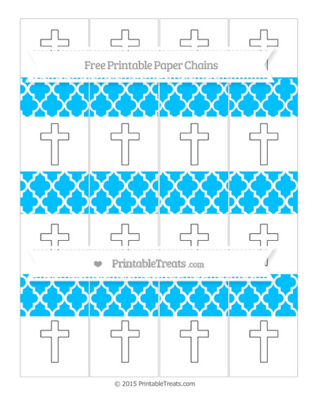 Free Deep Sky Blue Moroccan Tile Cross Paper Chains