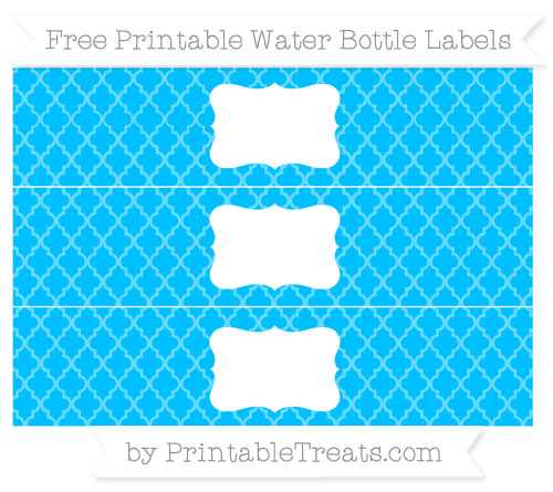 Free Deep Sky Blue Moroccan Tile Water Bottle Labels