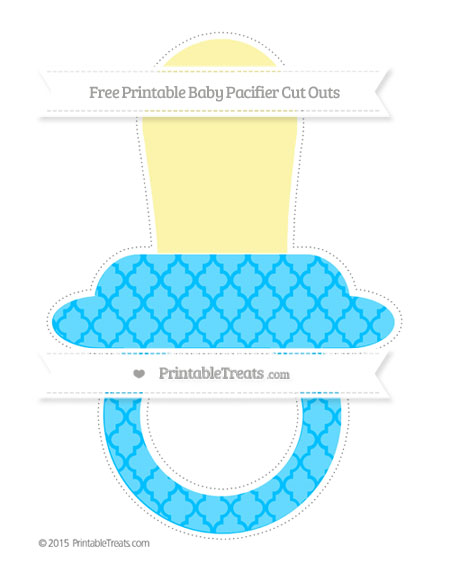 Free Deep Sky Blue Moroccan Tile Extra Large Baby Pacifier Cut Outs
