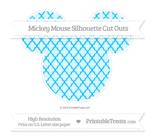 Free Deep Sky Blue Moroccan Tile Extra Large Mickey Mouse Silhouette Cut Outs