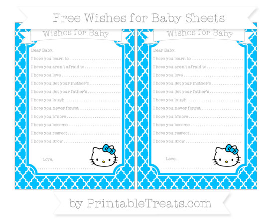 Free Deep Sky Blue Moroccan Tile Hello Kitty Wishes for Baby Sheets