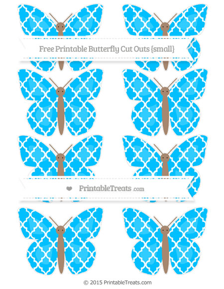 Free Deep Sky Blue Moroccan Tile Small Butterfly Cut Outs
