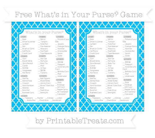 Free Deep Sky Blue Moroccan Tile What's in Your Purse Baby Shower Game
