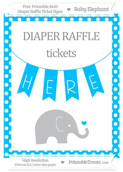 Free Deep Sky Blue Polka Dot Baby Elephant 8x10 Diaper Raffle Ticket Sign