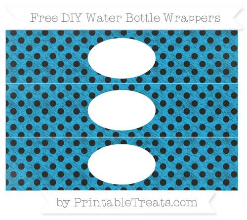 Free Deep Sky Blue Polka Dot Chalk Style DIY Water Bottle Wrappers