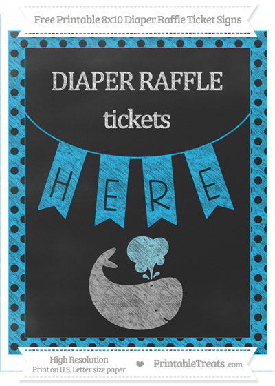 Free Deep Sky Blue Polka Dot Chalk Style Whale 8x10 Diaper Raffle Ticket Sign