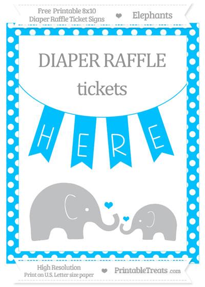 Free Deep Sky Blue Polka Dot Elephant 8x10 Diaper Raffle Ticket Sign