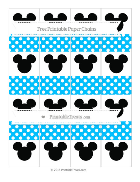 Free Deep Sky Blue Polka Dot Mickey Mouse Paper Chains