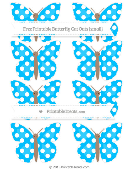 Free Deep Sky Blue Polka Dot Small Butterfly Cut Outs