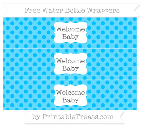 Free Deep Sky Blue Polka Dot Welcome Baby Water Bottle Wrappers