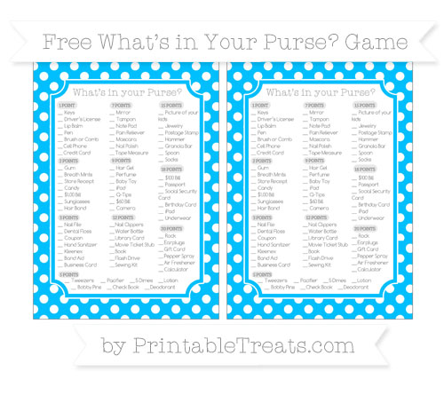 Free Deep Sky Blue Polka Dot What's in Your Purse Baby Shower Game