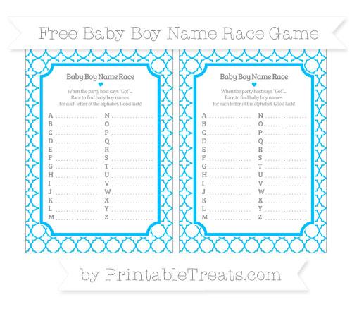 Free Deep Sky Blue Quatrefoil Pattern Baby Boy Name Race Game