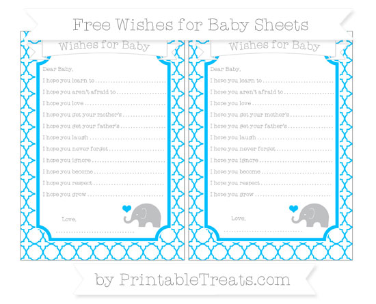 Free Deep Sky Blue Quatrefoil Pattern Baby Elephant Wishes for Baby Sheets
