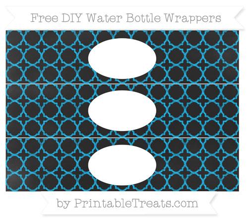 Free Deep Sky Blue Quatrefoil Pattern Chalk Style DIY Water Bottle Wrappers