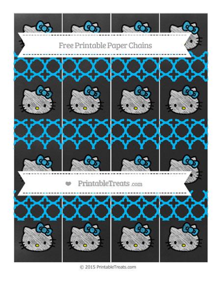 Free Deep Sky Blue Quatrefoil Pattern Chalk Style Hello Kitty Paper Chains