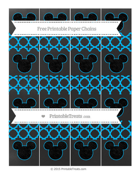 Free Deep Sky Blue Quatrefoil Pattern Chalk Style Mickey Mouse Paper Chains