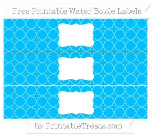 Free Deep Sky Blue Quatrefoil Pattern Water Bottle Labels