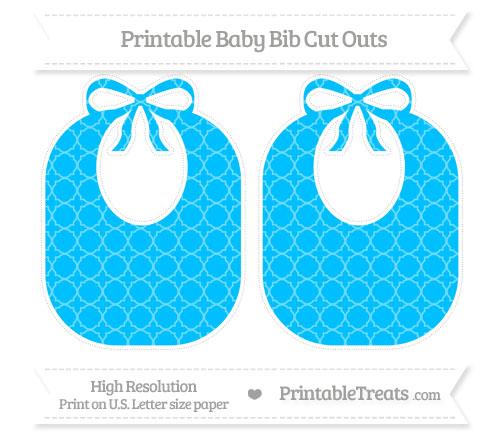 Free Deep Sky Blue Quatrefoil Pattern Large Baby Bib Cut Outs