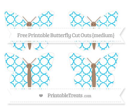 Free Deep Sky Blue Quatrefoil Pattern Medium Butterfly Cut Outs