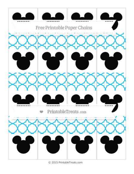 Free Deep Sky Blue Quatrefoil Pattern Mickey Mouse Paper Chains