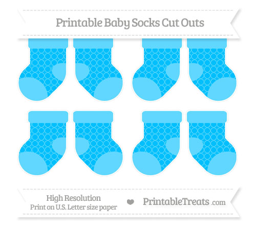 Free Deep Sky Blue Quatrefoil Pattern Small Baby Socks Cut Outs