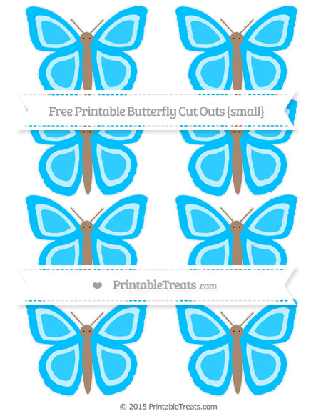 Free Deep Sky Blue Small Butterfly Cut Outs