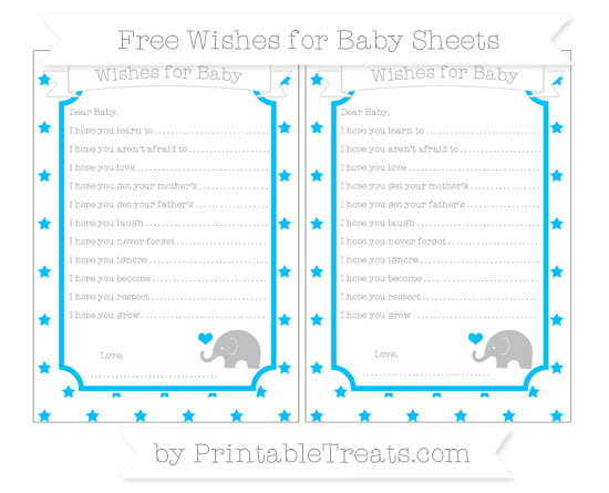 Free Deep Sky Blue Star Pattern Baby Elephant Wishes for Baby Sheets