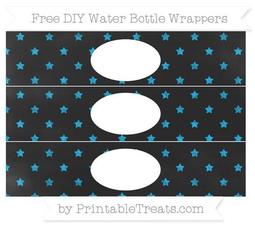 Free Deep Sky Blue Star Pattern Chalk Style DIY Water Bottle Wrappers