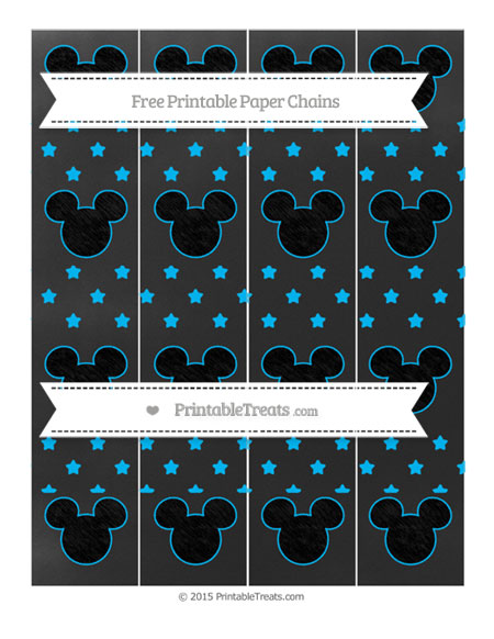 Free Deep Sky Blue Star Pattern Chalk Style Mickey Mouse Paper Chains