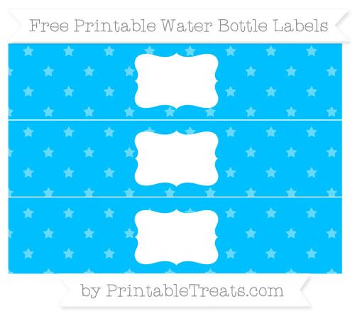 Free Deep Sky Blue Star Pattern Water Bottle Labels