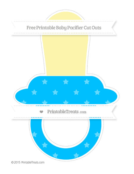 Free Deep Sky Blue Star Pattern Extra Large Baby Pacifier Cut Outs