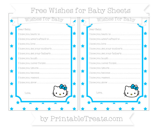 Free Deep Sky Blue Star Pattern Hello Kitty Wishes for Baby Sheets