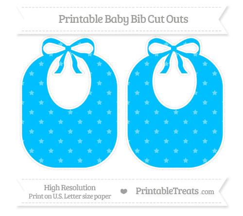 Free Deep Sky Blue Star Pattern Large Baby Bib Cut Outs