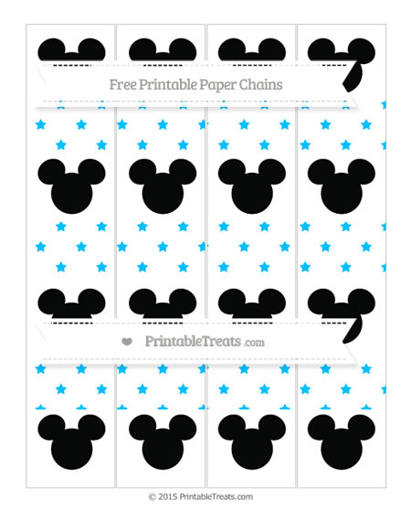 Free Deep Sky Blue Star Pattern Mickey Mouse Paper Chains
