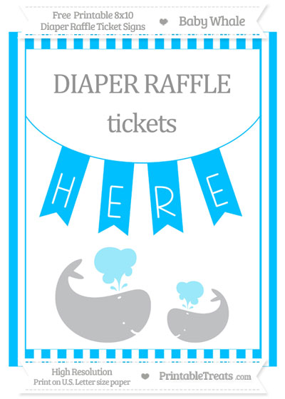 Free Deep Sky Blue Striped Baby Whale 8x10 Diaper Raffle Ticket Sign
