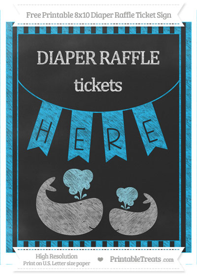 Free Deep Sky Blue Striped Chalk Style Baby Whale 8x10 Diaper Raffle Ticket Sign