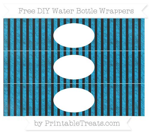 Free Deep Sky Blue Striped Chalk Style DIY Water Bottle Wrappers
