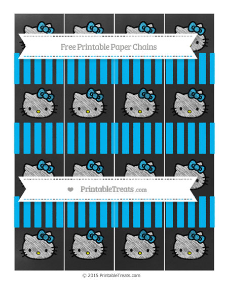 Free Deep Sky Blue Striped Chalk Style Hello Kitty Paper Chains