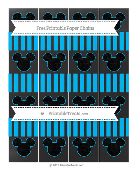 Free Deep Sky Blue Striped Chalk Style Mickey Mouse Paper Chains