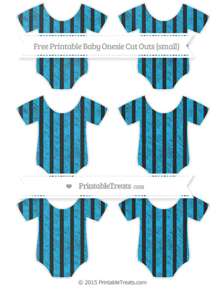 Free Deep Sky Blue Striped Chalk Style Small Baby Onesie Cut Outs