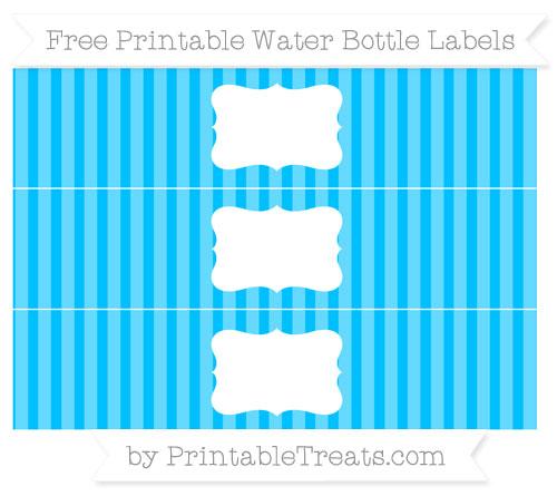 Free Deep Sky Blue Striped Water Bottle Labels