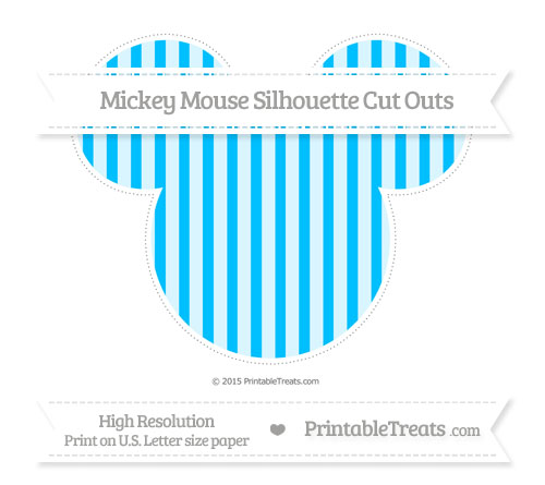 Free Deep Sky Blue Striped Extra Large Mickey Mouse Silhouette Cut Outs