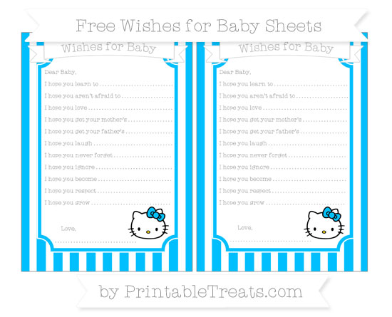 Free Deep Sky Blue Striped Hello Kitty Wishes for Baby Sheets