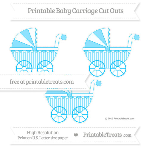 Free Deep Sky Blue Striped Medium Baby Carriage Cut Outs