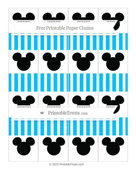 Free Deep Sky Blue Striped Mickey Mouse Paper Chains