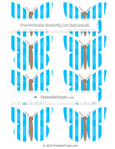 Free Deep Sky Blue Striped Small Butterfly Cut Outs